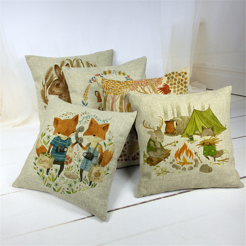Decorative Pillow Trends 2015 : 2015 New Linen Animals Print Cushion Home Sofa Car Decorative Pillow Decor Pillow-in Cushion ...