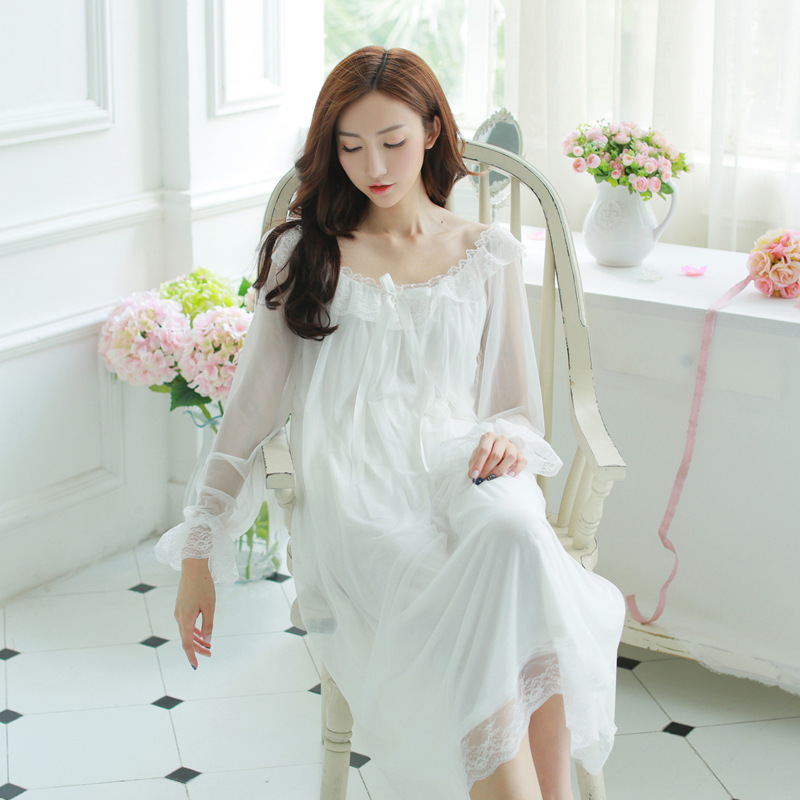 High quality retro women's sleepwear nightgown princess palace transparent lace summer Indoor clothing Home pajamas set
