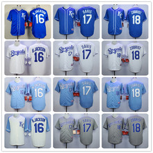 Mens KC High Quality 16 Bo Jackson 18 Ben Zobrist Throwback baseball Jersey color blue gray white Jerseys(China (Mainland))