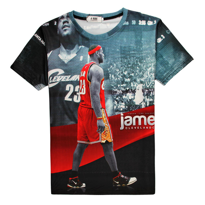 Summer New Fashion Star Men's Short Sleeve T-shirt Red Star Lebron James Basketball 3d T-shirt Casual O-neck Sport Tops(China (Mainland))