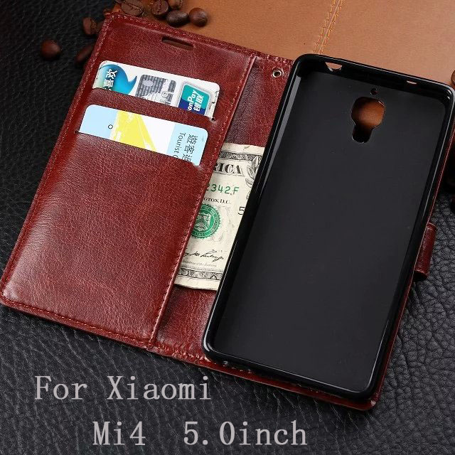 For Xiaomi Mi4 Vintage Luxury Wallet TPU+PU Leather Cases Stand Card Holder Phone Bags Cover For Xiaomi Mi4 Phone Skin Cover(China (Mainland))