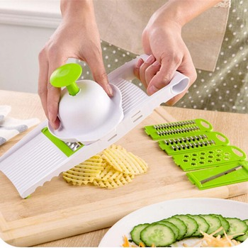7 in 1 Plastic Vegetable Fruit Slicers Cutter Adjustable Stainless Steel Blades Multi-function ABS Peeler Grater Slicer KC1055