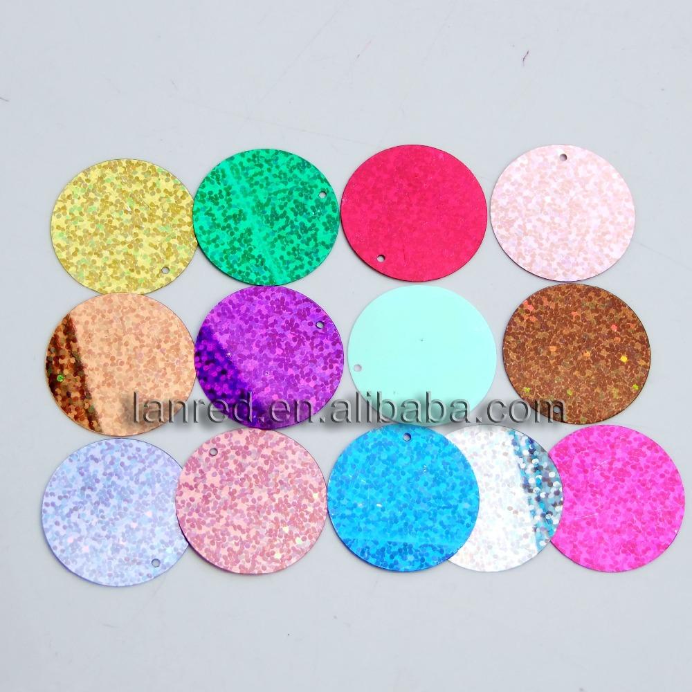 20Laser Bright Round Paillettes 30mm 1Holes Clothes Accessory .SE-14 - L & D Crafts Firm store