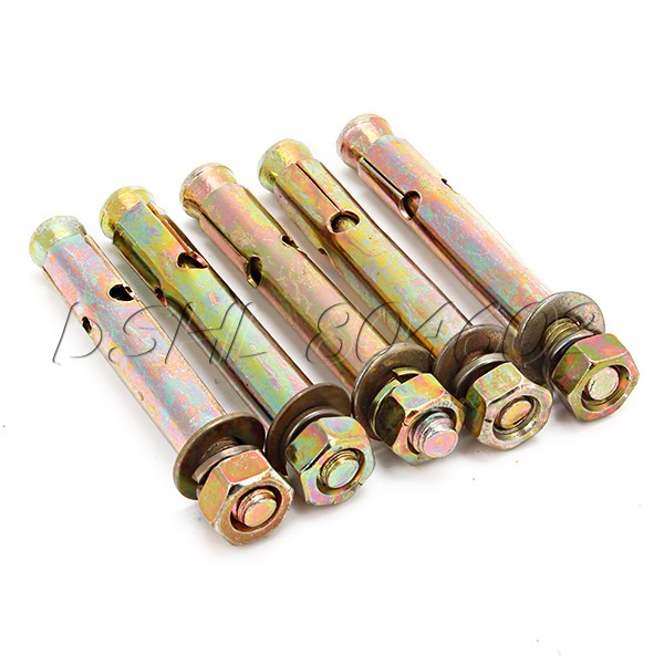 5x Expansion Bolt Hardware Tool M6x60 mm Hex Nut Sleeve Anchor Copper Tone