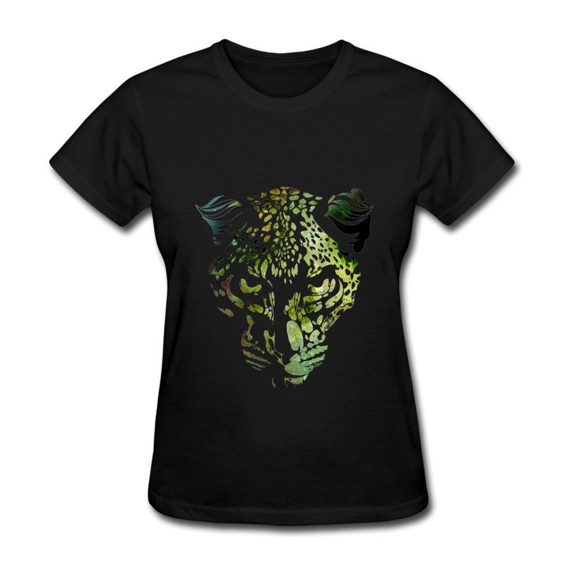 Cheap short sleeve t shirt women animal green leopard for Affordable custom dress shirts online