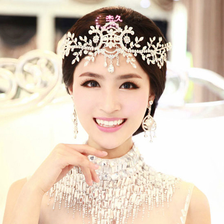 2015 new fashion crystal rhinestone head chain bridal headpiece wedding hair jewelry tiara wholesale