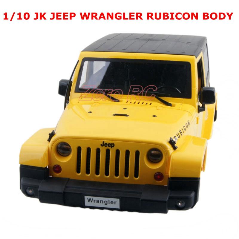 1/10 Scale RC Truck Body Shell 1:10 JEEP WRANGLER RUBICON Hard Plastic Body Yellow(China (Mainland))