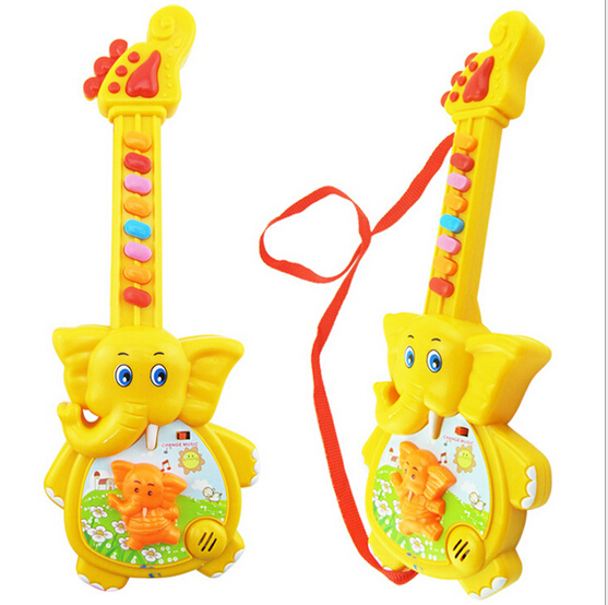 2016 toy Early Learning Fun educational plastic toy Children Musical Toys Cartoon elephant electric guitar music(China (Mainland))