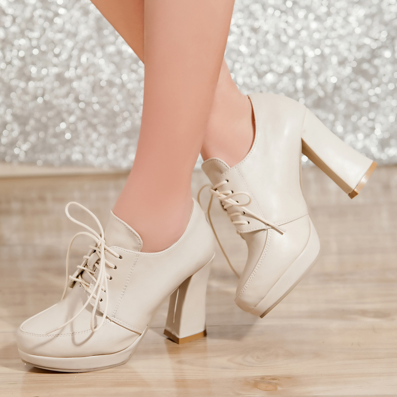 Brand New Design Cheap Leisure Lace-Up Platform Pumps Vintage Round Toe High Heels Women Shoes(China (Mainland))
