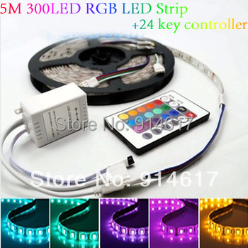 5M Waterproof SMD RGB 5050 LED Strip 300LED Flexible Strip light + 24 key IR remote controller