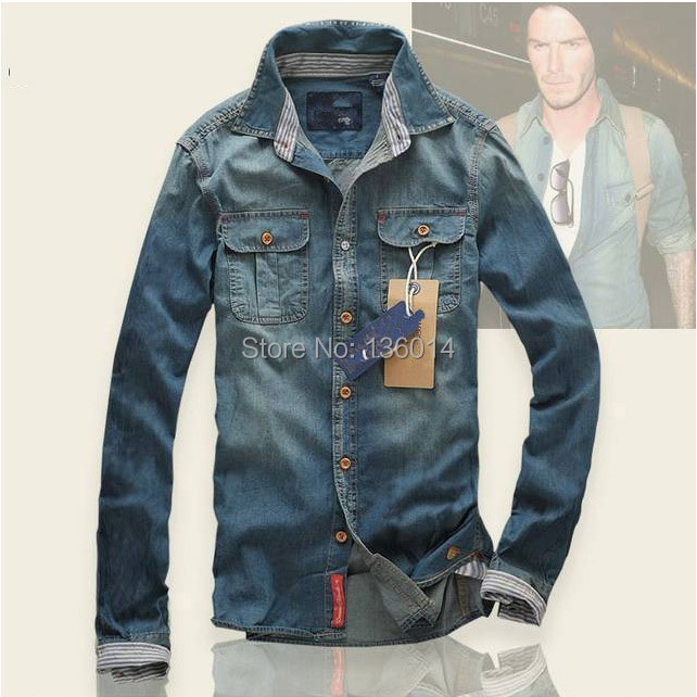 2015 Men's Slim fit Long Sleeve Shirts Men Cotton jeans casual shirt Mens dress shirts Brazil - HUHA store