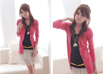Hot Sale Free shipping 2014 hot sale spring and autumn women ladies v-neck cardigan Long sleeve candy colors Y3393