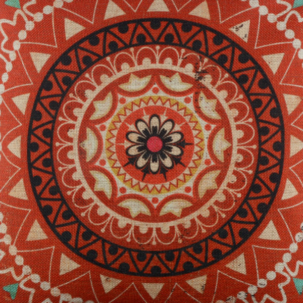 LINKWELL 18x18 Vintage Red Circle Ethnic African Pattern Style Design Burlap Cushion Cover Throw Pillowcase Ikat
