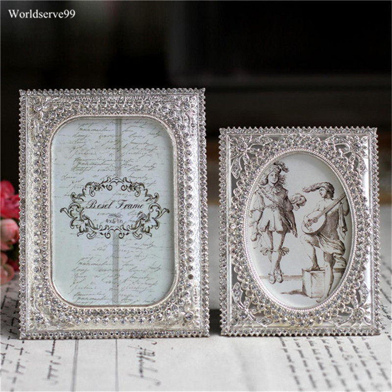 5inch 6inch Rhinestone Crystal Wedding Photo Frames Metal Alloy Picture Frame Bridal Favor Gifts