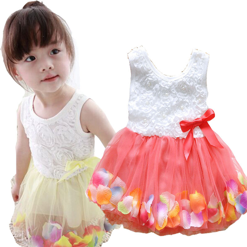 6 Different Colors Kids Clothes Baby Girls Dress Princess Dress Floral Bottom Girls Rose Petal Hem TuTu Dress Color Cute Dress(China (Mainland))