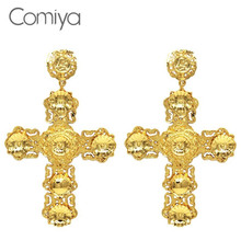 Comiya Newest Big New Filled India Cross Earrings For Women Pendientes Largos Statement Earring Brincos Barroco Gothic Jewlery(China (Mainland))