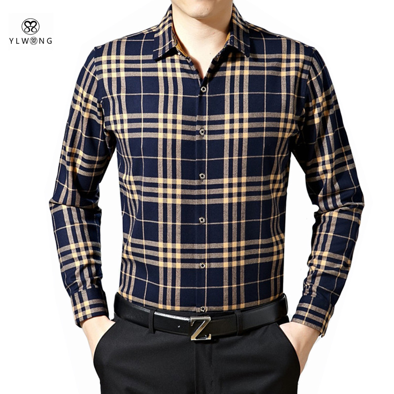 YLWONG Camisa Masculina Mens Brand Clothing Plaid Cotton Shirt Men Full Sleeve High Quality font b