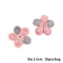 Double Color 20pcs 25mm Woolen flower Handmade 3d Flowers for Headbands Appliques Sewing Wedding Garment dresses Accessories DIY(China)