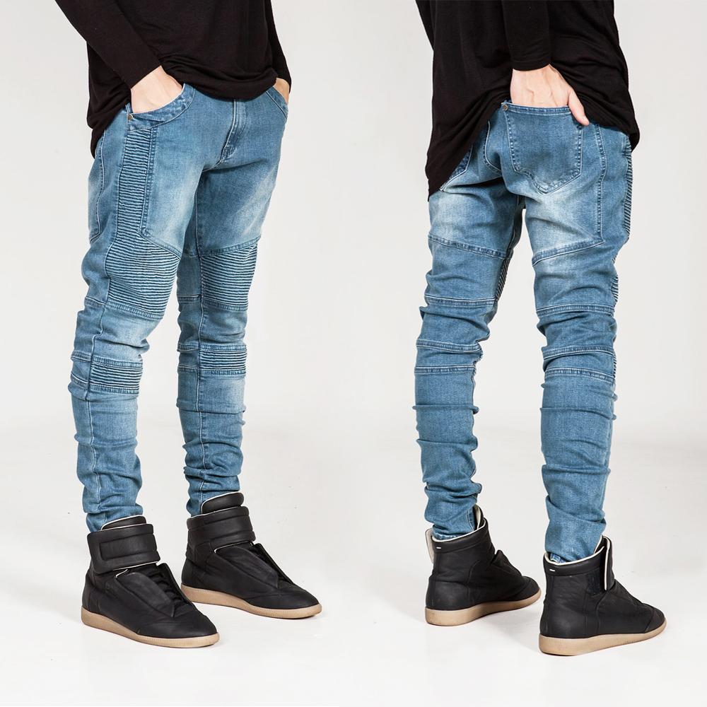 New 2016 Mens Biker Ripped Folds Skinny Jeans Homme Hiphop Fashion Slim Elastic Jean Pants For Men 28-38 Blue Black Gray White(China (Mainland))