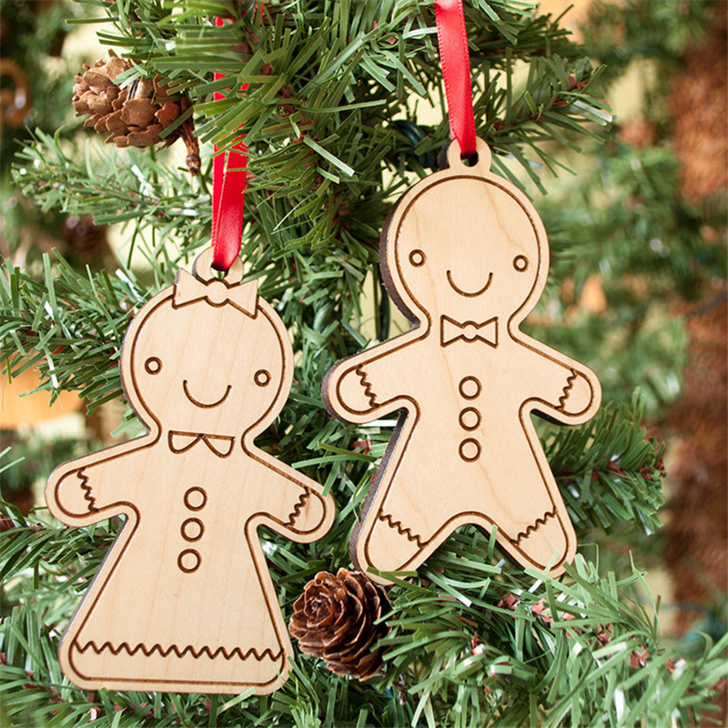 2pcs Christmas Tree Ornament Wooden MDF Laser Cut Christmas Cookie Gingerbread Man(China (Mainland))