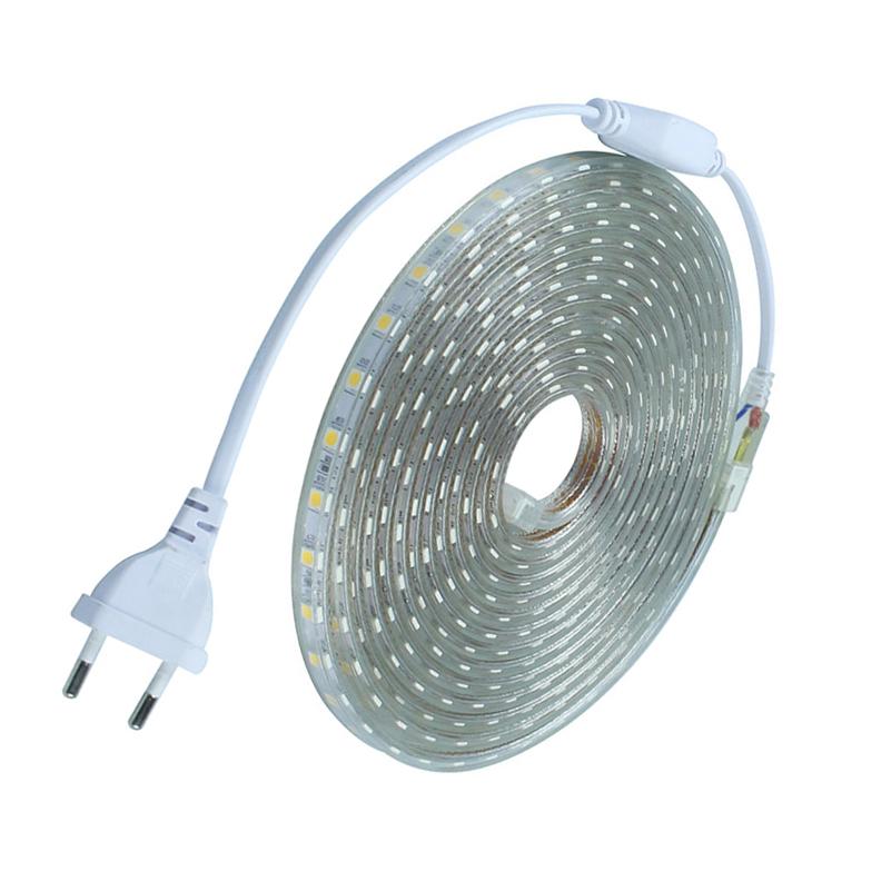 Outdoor Led Light Tape: Waterproof SMD5050 Led Tape AC220V Flexible Led Strip 60