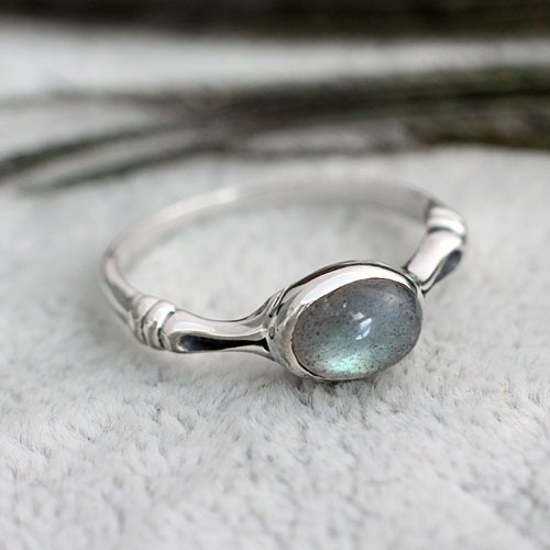 Handmade Nepal Ethnic Retro 925 Sterling Silver Ring Natural Moonlight Labradorite Women Rings Gifts - Bagstree Store store