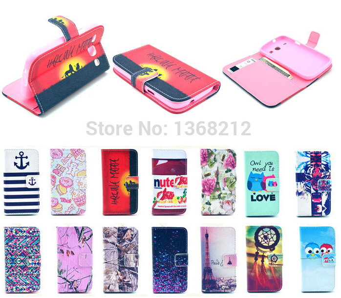 1PCS Case For Samsung Galaxy Core I8260 I8262 Luxury PU Leather Case Owls Tower Tiger Flowers Fashion Flip Wallet Stand Covers(China (Mainland))