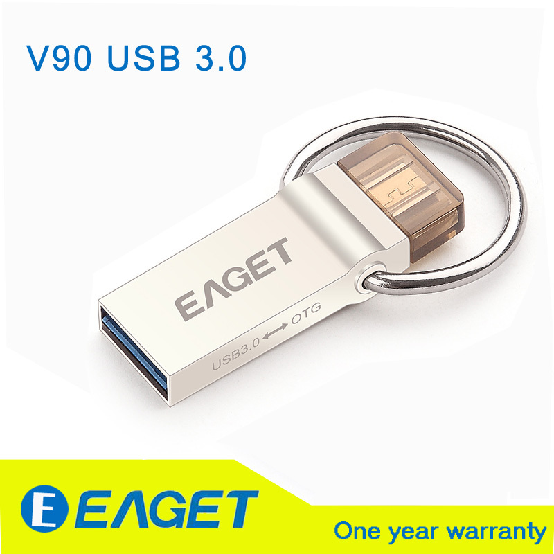 EAGET Official V90 16GB 32GB 64GB USB Flash Drive USB 3.0 OTG Smartphone Pen Drive Micro Portable Storage Memory Metal USB Stick(China (Mainland))