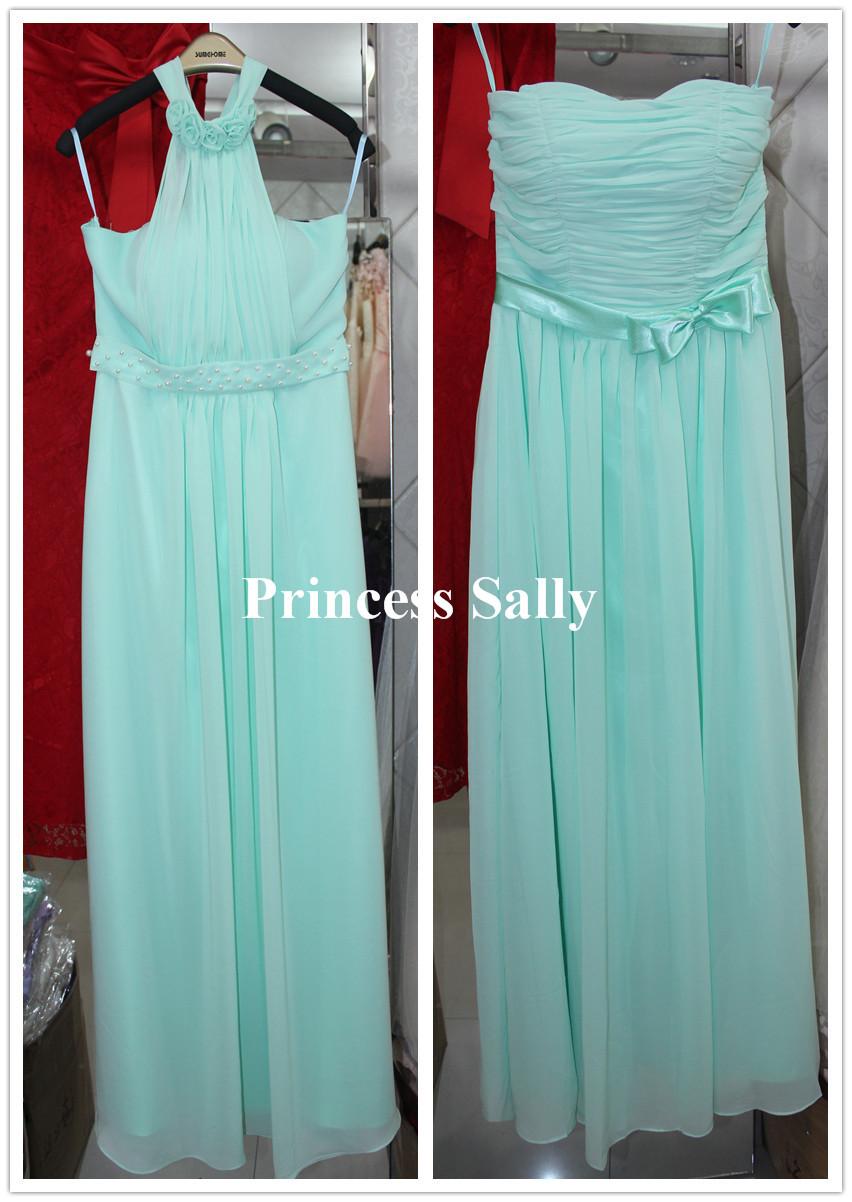 Pastel Mint Green Bridesmaid Dress Chiffon Real Photos