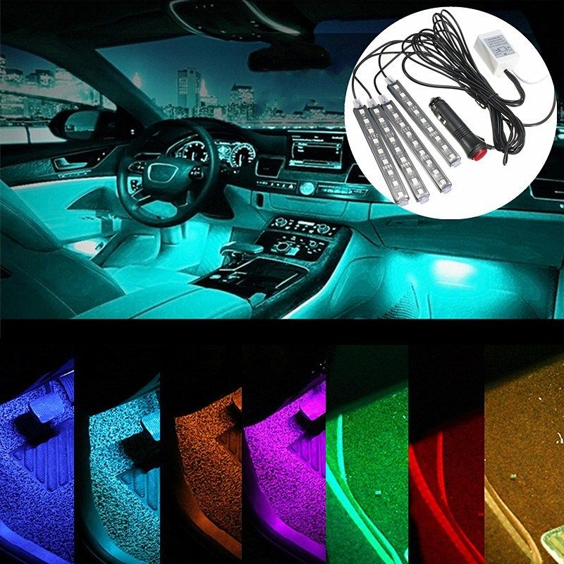 buy wireless remote music voice control car rgb led neon interior light lamp. Black Bedroom Furniture Sets. Home Design Ideas