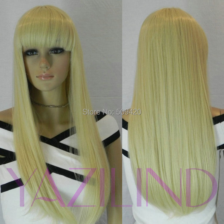 FSX59823&gt;&gt;&gt;&gt;new women long straight hair wig blonde full bangs heat resistant synthetic wig<br><br>Aliexpress
