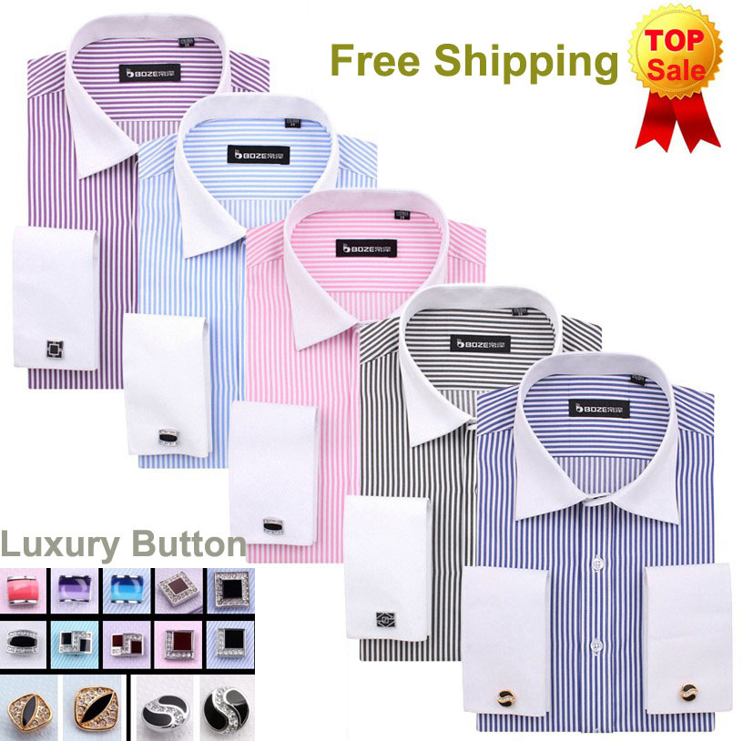 French Cuff Button Men Dress Shirts 2014 New Non Iron Luxury Slim Fit Long Sleeve Brand