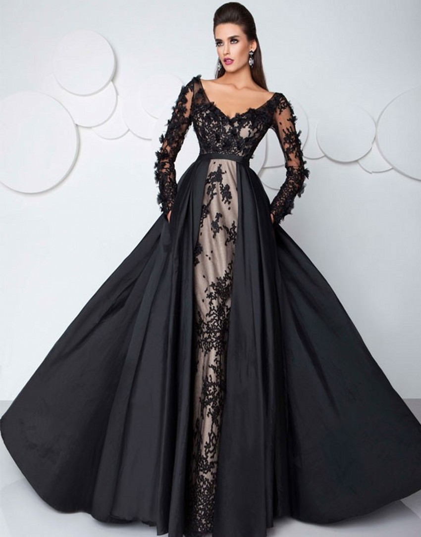 2017 Fashion Prom Dress Party Gown Saudi Arabia Sexy Black Evening Dresses With Long Sleeves