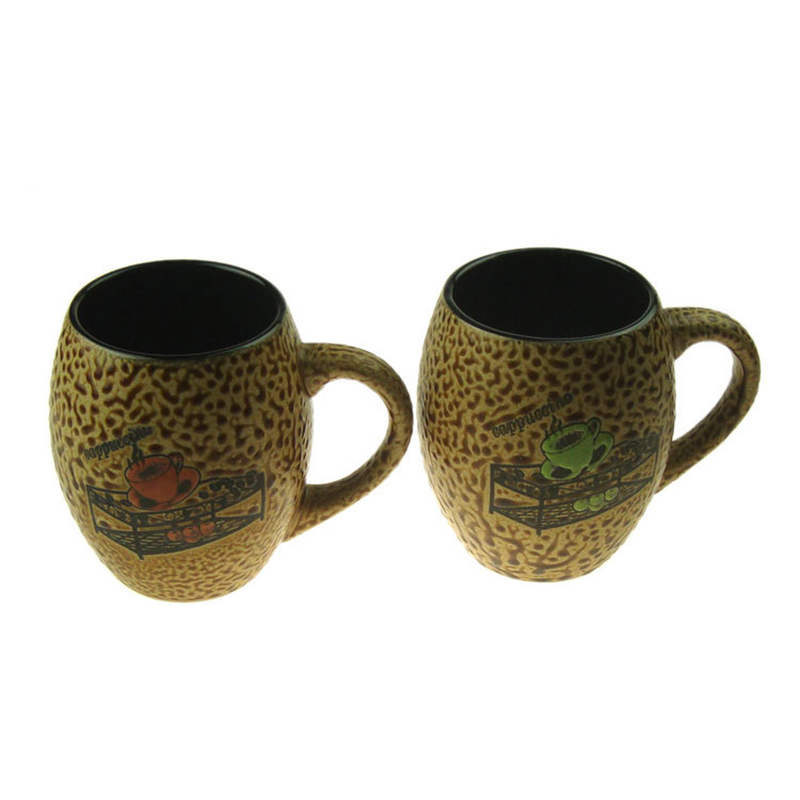 Colorful Relief Stone Big Size Ceramic Coffee Mugs Cups, JSF-Cups-032(China (Mainland))