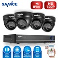 SANNCE HD 720P 4CH CCTV System DVR 4PCS 1200TVL IR Weatherproof Outdoor Video Security Camera System