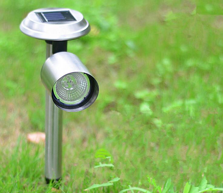 Solar stainless steel spotlight garden landscape solar Led projection lamp spotlight solar lawn light landscape lamp(2 pcs/lot)(China (Mainland))
