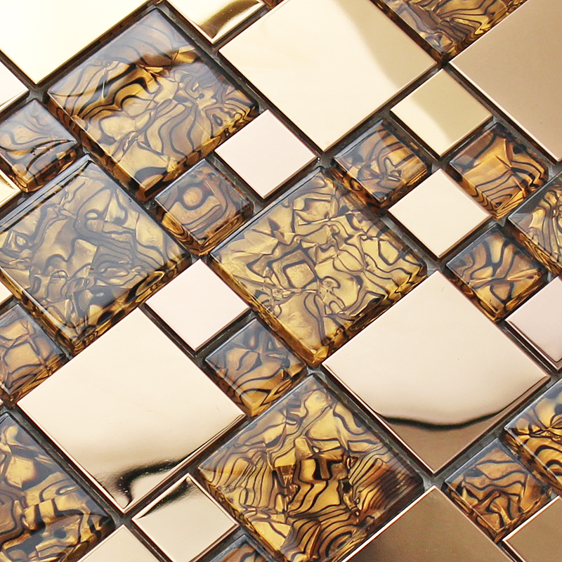 Kai blue crystal glass mosaic tile European stainless living room TV backdrop wall entrance wall stickers puzzle(China (Mainland))