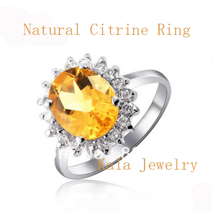 TOPS!! Ring for woman,Luxurious noble Natural citrine 925 silver ring platinum plated Semi-precious stone ring,Wealth of stone<br><br>Aliexpress