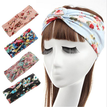 9 colors Fashion Retro Women Elastic Turban Twisted Knotted Headband Ethnic Floral Wide Stretch Girl Yoga Hair Accessories 2016