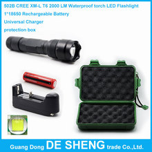 502B led flashlight Waterproof torch cree xml t6 chip 2000lm + 1*18650 Rechargeable Battery + Universal Charger + protection box(China (Mainland))