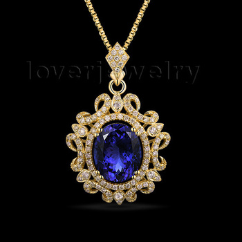 Gorgeous 3.05 Carat Oval 8x10mm Blue Tanzanite Pendant With Diamonds In 14K Yellow Gold WP048