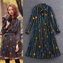 european runway designer dresses for women 2016 tie collar shirt dress long sleeve spring summer pleated chiffon ladies frocks(China (Mainland))
