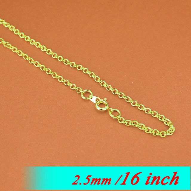 16 Gold Sterling With Round Clasps Connectors Fashion Necklace Links For Pendants Components 2.5mm Rolo Metal Jewellery Chaines<br>