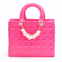 high quality 100% Noble Elegant pearls decoration bags classical plaid bag Women's Tote PU Leather Hobo Retro Satchel bag