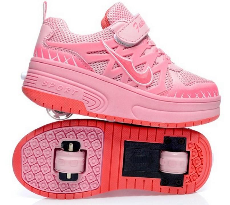 3 Colors Children Roller Shoes Net Surface Air Mesh Automatic wheel Kids Sneakers Boys Girls Skates Eur 29-42 - Fashion Children's park store