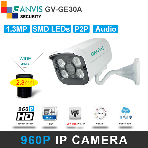 New 1.3mp IP camera 960P > 720P HD 4um super pixel Sensor audio IR mini type outdoor security cctv surveillance GANVIS GV-GE30A(Hong Kong)