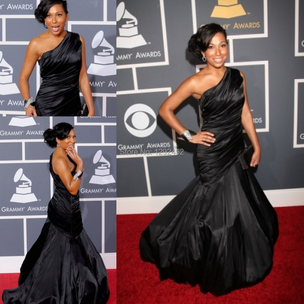 Grammy Award Stunning Melanie Fiona One-shoulder Black Celebrity Taffeta Evening Dress Red Carpet Prom Reception Occasion Gown - newdesignbridaldream store