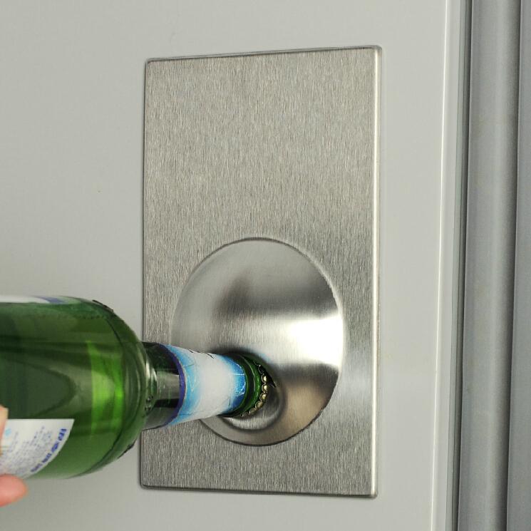 OT0145# Novelty Fridge Magnet Easy Beer Bottle Opener Stainless Steel Refrigerator(China (Mainland))