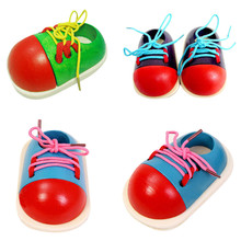 1pc Fashion Kids Montessori Educational Toys Children Wooden Toys Toddler Lacing Shoes Early Education Montessori Teaching Aids(China (Mainland))