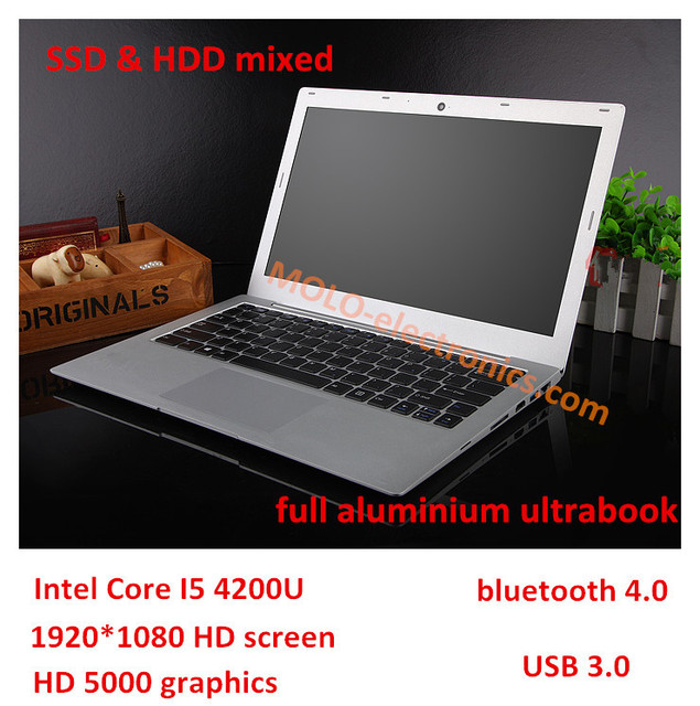 13.3inch ultrabook laptop notebook computer in*tel core I5 5200U 4GB 500GB HDD & 64GB SSD USB 3.0 HDMI freeshipping